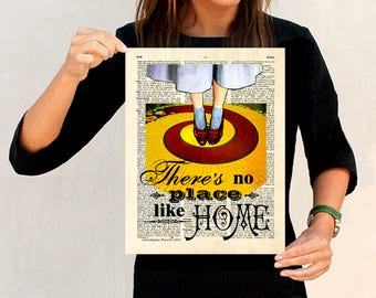 """Fine Art Print: -  """"There's no Place Like Home - Wizard of Oz"""" 11"""" x 14"""", Dorothy, Ruby Slippers, Yellow Brick Road print, Childs room art"""