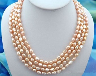 Pearl Necklace- Baroque pearl necklace, pink freshwater pearl necklace, 4 rows pearl necklace