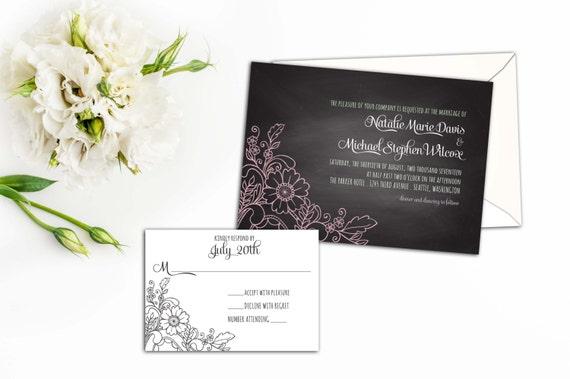 Chalkboard Floral Lace Wedding Invitation Set, Floral Lace Wedding invites,Wedding Response,Thank you cards, Whimsical Elegance Invites