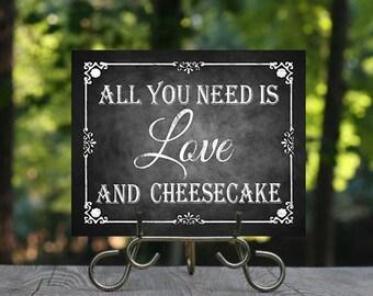 Cheesecake Wedding Chalkboard Sign, Printable Chalkboard, Wedding Cake Sign, CheeseCake Dessert Sign, Dessert Table, Cake Sign