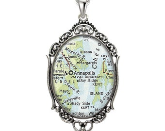Map Pendant Annapolis MD Oval Filigree Pendant Maryland City Naval Academy Necklace Art Pendant Photo Pendant Graphic Pendant