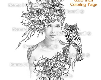 Woodland Meadow Fairy Tangles Gray Scale Printable Coloring Book Pages by Norma J Burnell Adult Coloring for Grownups - grayscale coloring