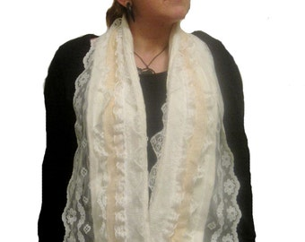 Handmade Scarf Lace Scarf  Vintage Look Lace Scarf Scarves Fleece White