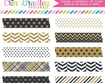 80% OFF SALE New Years Black & Gold Washi Tape Clipart Commercial Use Digital Clip Art Graphics INSTANT Download