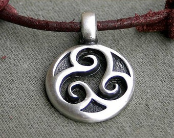 Leather Necklace With Celtic Triskele Pewter Pendant