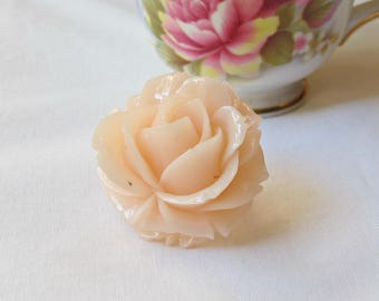 Botanical Cocktail Ring Jewelry - Jewellery Rose Flower Floral Peach - Pink Pastel For Women
