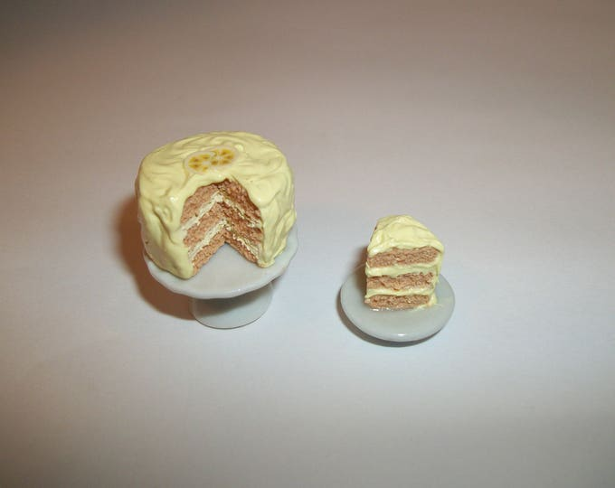 Featured listing image: 1:12 One Inch Scale Dollhouse Miniature Handcrafted Triple Layer Banana Dessert Cake ~ Food for dolls