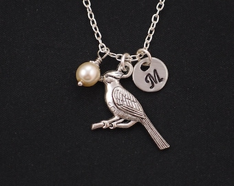cardinal bird necklace, sterling silver filled, initial necklace, Swarovski pearl choice, silver bird charm, red bird, bird lover gift