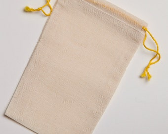 3.25x5 Yellow Double Drawstring Cotton Muslin Bags 300 count