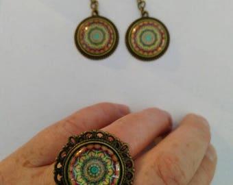 Ague round bezel set + earrings dangling pendant Mandalas, adult, new & handmade