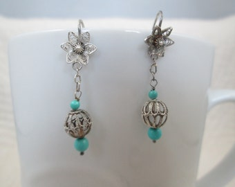 Vintage Sterling Silver Earrings Turquoise Colored Stones and Globes