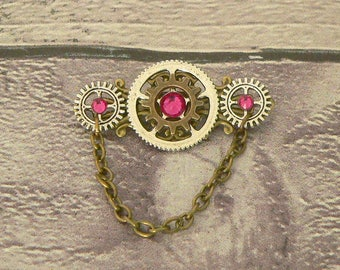 Pink Brooch, Steampunk Brooch, Steampunk Pin, Neo Victorian Brooch, Steampunk Jewellery, Victorian Jewellery, Steampunk Jewelry