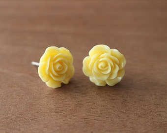 Floral Stud Earrings Yellow- Stainless Steel Posts Hypoallergenic