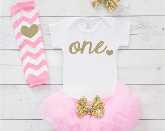 1st Birthday Outfit Girl One Year Old Girl Birthday Outfit Pink and Gold Tutu Set for First Birthday Girl 032S