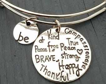 Be thankful, be kind charm bracelet, be brave bracelet, be strong bracelet, inspirational jewelry, inspirational bracelet, be happy bracelet
