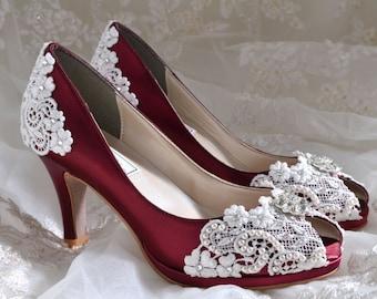 "Wedding Shoes - Lace Wedding Heels - PB826A Vintage Wedding Lace Peep Toe 2 3/4"" Heels, Women's Bridal Shoes"