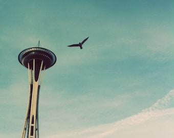 Space Needle photo, Seattle square print, Space Needle canvas, Space Needle print, Seattle photo, Seattle canvas