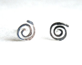 Sun Swirl Stud Earrings. Sterling Silver Hand Hammered Spiral Studs. Swirly Sun Stud Post Earrings. Small Girl Studs Gift Under 20