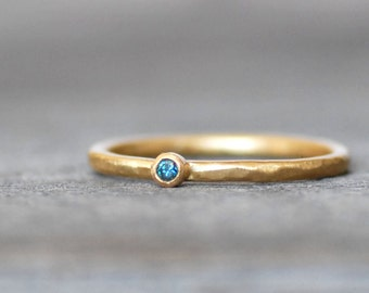 Tiny Blue Diamond Ring, Blue Diamond Gold Wedding Band - Choose 14k or 18k - Eco-Friendly Recycled Gold