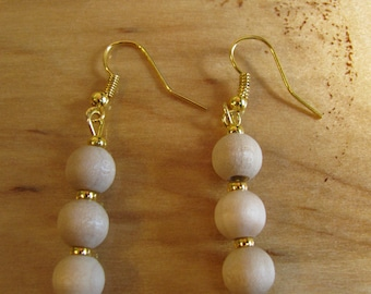 Natural Wood Dangles with Gold Toned Accents