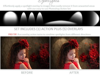 Photoshop Action   Overlays - Spotlights - Photography Editing Made Easy With This One (atn) Action to Install on Your Computer.