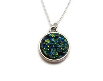 Dark Blue Druzy Necklace Sparkly Blue  Faux Druzy Necklace Shiny Druzy Necklace Gifts For Her Choose Your Chain Druzy Jewelry
