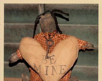 Primitive Doll E-Pattern Valentine's Day Folk Art Won't You Be Mine
