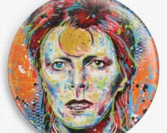 Needle Minder - Licensed Art By Sara Bowersock - David Bowie Cross Stitch Keeper - Fridge Magnet
