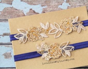 Light Gold and Tan Embroidery Flower Lace with Navy Elastic Wedding Garter Set, Tan Garter Set, Toss Garter ,Wedding Garter Belt/ GT-34