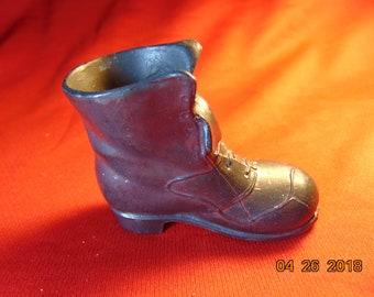 One (1), Vintage, Metal, Man's Boot,  Pin Cushion.