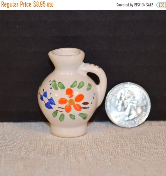 "Delayed Shipping Miniature Mexico Style Pitcher Vintage 1.5"" Mini Pitcher Ceramic Floral Beverage Serving Dollhouse Jug 1:12 Size Miniature"