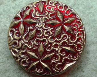 Czech Glass Button 27mm - hand painted - red, gold (B27323)