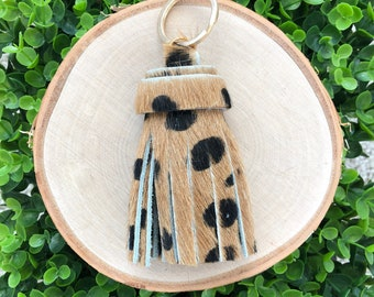 Large Cheetah Print Genuine Leather Tassel Keychain | Tassel Keychain | Key Fob | Leather Keychain | Gifts