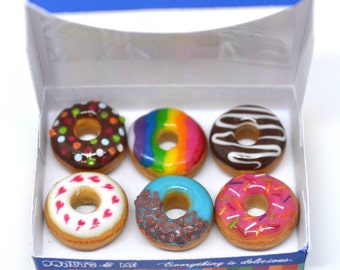 Dollhouse miniature donuts,Miniature donut box,Miniature donuts,Dollhouse donuts,Miniature food