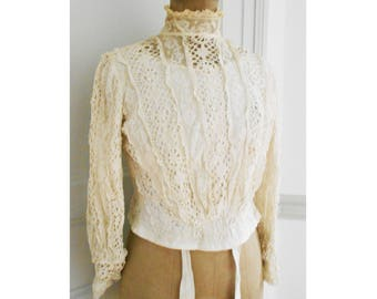 Irish Lace Blouse Antique French Bodice Lined Whale bones