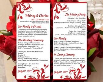 "Printable Wedding Program Template Download | ""Florence"" Red Ceremony Program | Order of Service Template | Tea Length Wedding Program"