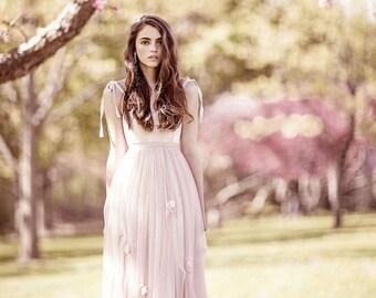 Blush Wedding Dress, Prom dress, Spring Wedding, Pink Wedding Dress, floral wedding dress, boho wedding dress, romantic dress
