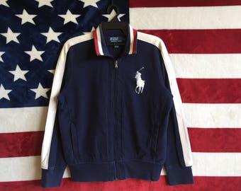 Vintage 90s Polo Ralph Lauren Zipper Cotton Jacket Big Pony Polo Ralph Lauren Blue Navy White Colours Large Size