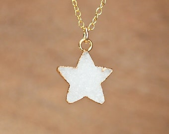 Druzy necklace - gold star necklace - raw crystal necklace - sparkly necklace - celestial necklace