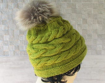 Women's Hat Lemon, Hand Knit Beanie / Vegan Pom Hat /  Chunky Knit For Ladies