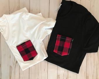 Buffalo Plaid Tank Top/ Tshirt, Red Buffalo Plaid, Flannel pocket tee