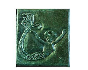 Mermaid Decorative Tile, Bathroom Decor, Beach Wall Plaque, Mermaid Stone Art Sculpture, Mermaid Garden Art
