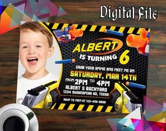 Nerf Invitations,Nerf Birthday,Nerf Party,Nerf Birthday Invitations,Nerf Printable,Nerf Invite,Nerf Birthday Party,Nerf Invites-F0227