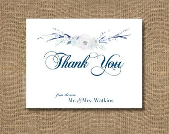 Thank You From the New Mr and Mrs | Free Custom Color | Thank You Cards | Personalized Wedding Thank You's | Floral | Pack of 12 Cards