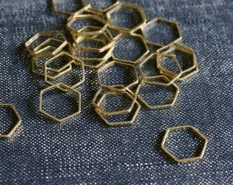 Honeycomb Hexagons 10mm - Raw Brass - 48pcs - Hexagon Connectors, Brass Hexagon, Hexagon Link, Cutout Hexagon Tube Modern Geometric