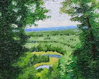 """Original Impressionist impasto Painting """"Blue Horizon"""" 11x14"""