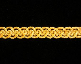 """660.1 Metallic gimp trim - """"Military Gimp"""" - bright gold - 1/4"""" (8mm), bright gold trim, gold metallic trim, military trim, gold gimp"""