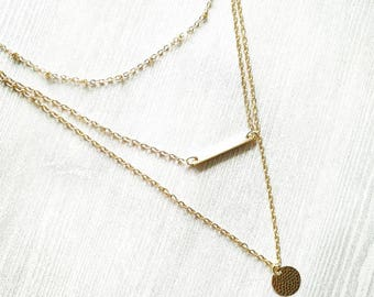Three layer necklace, gold multilayer necklace, layered necklace, choker necklace, three layered, layering necklace, gold necklace, bohemian