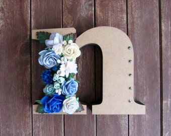Floral Decorated Wooden Letter - lowercase n / wall nursery birthday wedding office decor