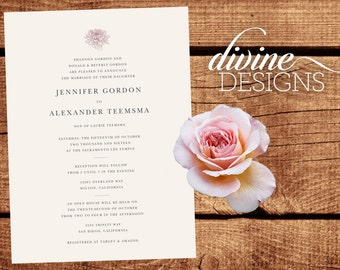 Elegant Wedding Announcements - Dahlia - LDS Weddings - Printable or we Print! - Gold and White - Cardstock